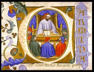 A depiction of Boetius teaching his students (...