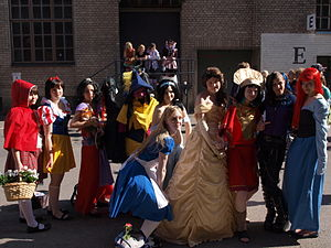 English: A group of women cosplaying as Disney...