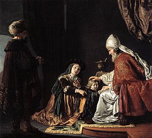 Hannah giving her son Samuel to the priest/ St...