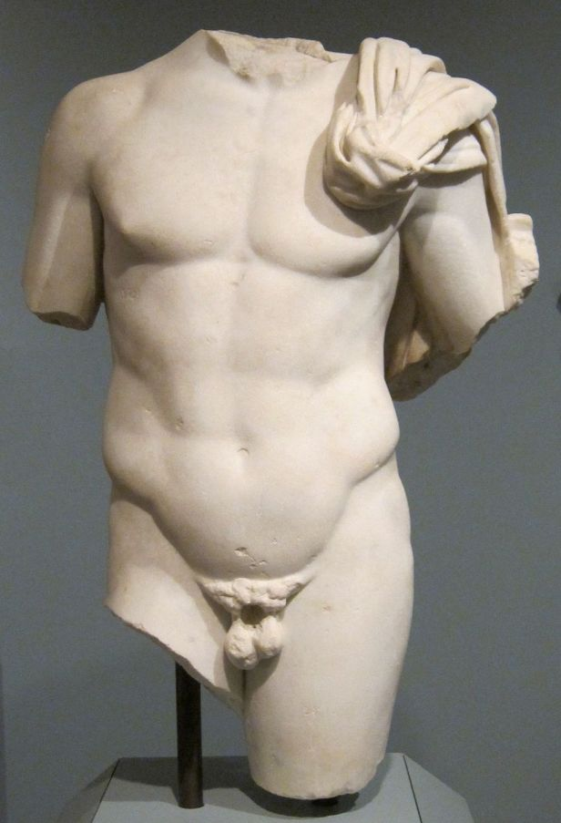 Marble male torso, Roman after Greek original, 2nd century CE, Honolulu Academy of Arts