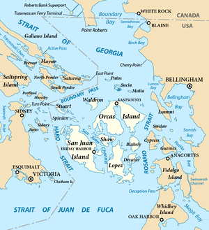 Map of the San Juan Islands (highlighted) and ...