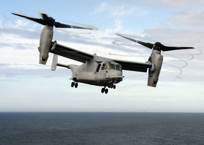 US Navy 051115-N-1189B-120 A U.S. Marine Corps MV-22B Osprey takes off from the flight deck of the amphibious assault ship USS Wasp (LHD 1)
