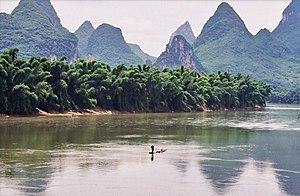 Yangshuo - the Li River. That's bamboo lining ...