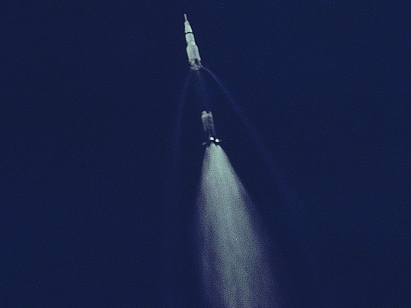 Oxyhydrogen combustion in the ignited second stage propelles a Saturn V with the Apollo 11 vehicle moonwards.