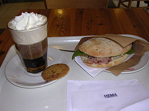 Whipped cream coffee & sandwich