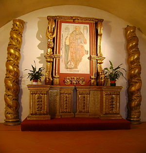 English: A fragment of a fresco in the crypt o...