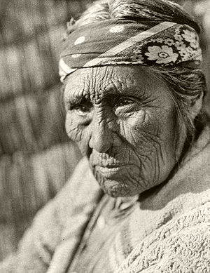 Elderly Klamath woman photographed by Edward S...