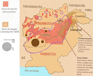 English: Map showing areas and presence of the...