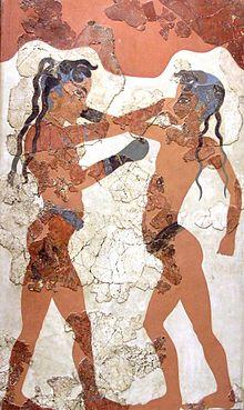 Il pugilato degli antichi cretesi - Affresco sull'isola di Santorini