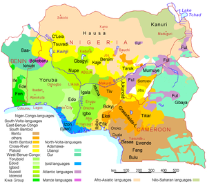 Map of languages of Nigeria, Cameroon, and Ben...