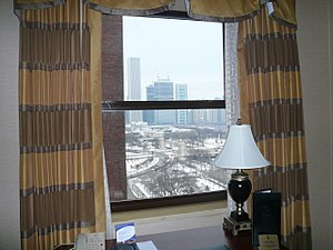 View from Chicago Hilton hotel room window tow...