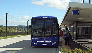 Auckland's Northern Busway adjacent to the Nor...