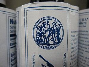English: Angostura bitters on a shelf.