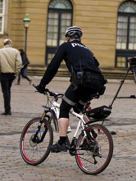 Danish police officesr on a bicycles