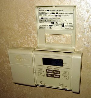 A residential electronic thermostat