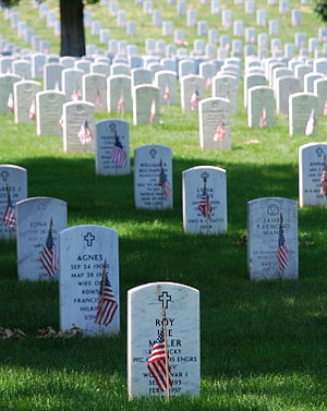 English: Picture of graves decorated with flag...