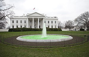 Green fountain in front of the White House on ...