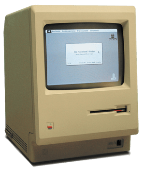 A Macintosh 128k, the first Macintosh model, i...