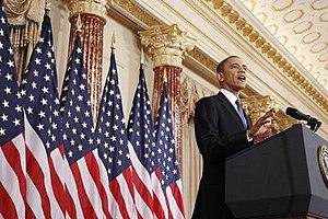 English: President Barack Obama delivers a pol...