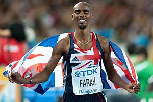 English: Mo Farah after 5000 m final - World c...