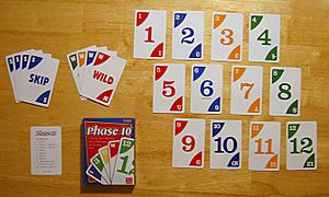 A picture of the cards in the game Phase 10.