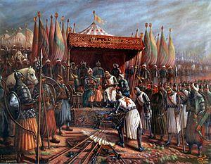 English: Saladin and Guy de Lusignan after bat...