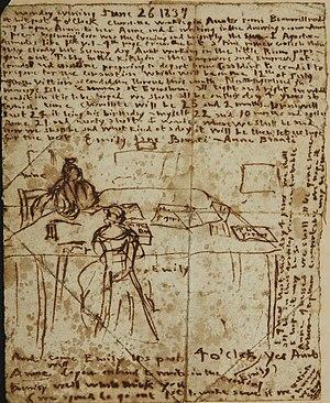 English: Emily Brontë's diary paper for June 2...