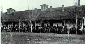 English: Students at the Old Fort Lewis Indian...