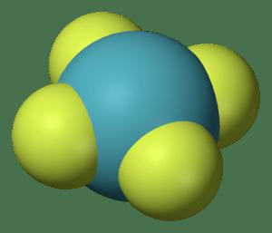 English: Structure of Xenon tetraflouride, one...