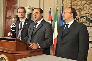 English: From left: the MP Massimo Donadi, mem...