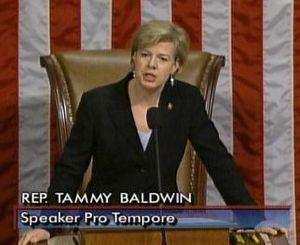 Tammy Baldwin presiding over the House while s...