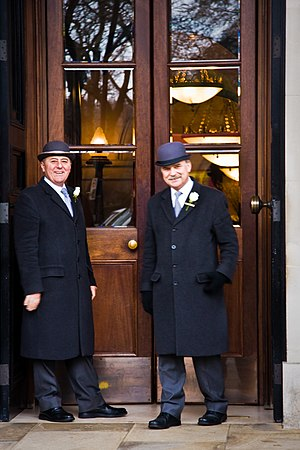 Doormen outside a hotel in Central London.