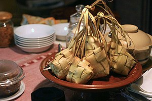Ketupat, traditional indonesian rice cake. Typ...