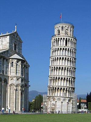 The Leaning Tower of Pisa, one of the most fam...
