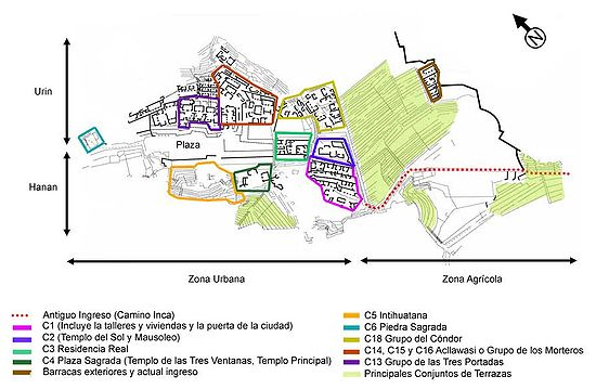 Principales sectores de Machu Picchu, de acuerdo a la nomenclatura utilizada por los arqueólogos del INC-Cusco.