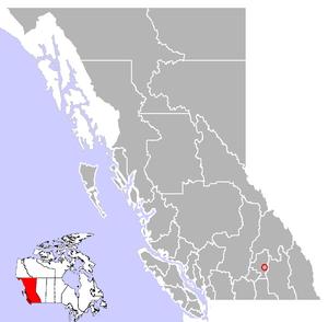 Location of Cherryville, British Columbia