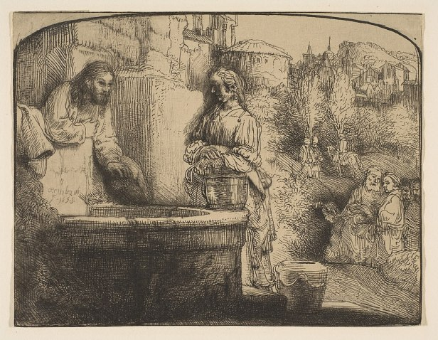 """""""Christ and the Woman of Samaria"""" byRembrandt"""