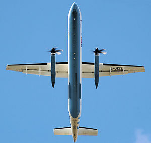 Flybe Dash 8 in planform view
