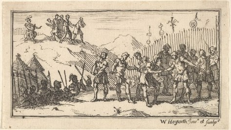 Decimation. Etching by William Hogarth in Beaver's Roman Military Punishments (1725)