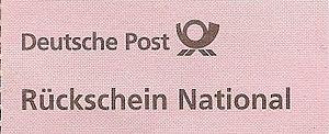 """Deutsch: """"Rückschein National"""" für P..."""