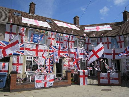 Houses decorated with England flags, Speke