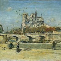"""Notre Dame Seen from the Quai de la Tournelle"" by Jean-François Raffaëlli"