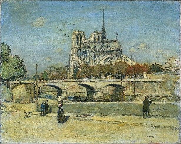 Notre Dame Seen from the Quai de la Tournelle by Jean-François Raffaëlli