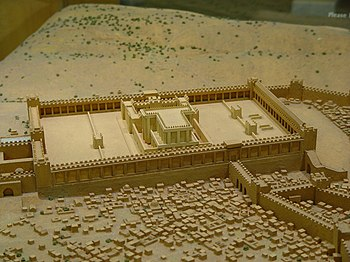 A small diorama/model of what the temple in Je...