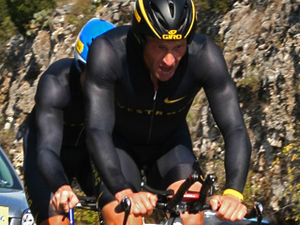Lance Armstrong and John Korioth in the team t...