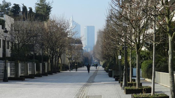 Levallois-Perret, remote view of La Défense, 2012
