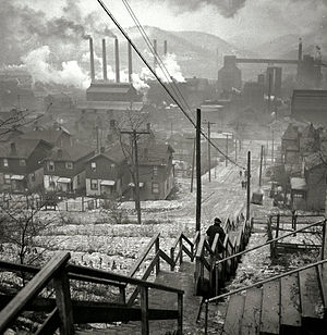 English: Steel mills and a long staircase in t...