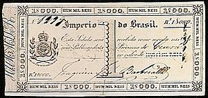 Português: Cédula de mil réis, emitida pela Ca...