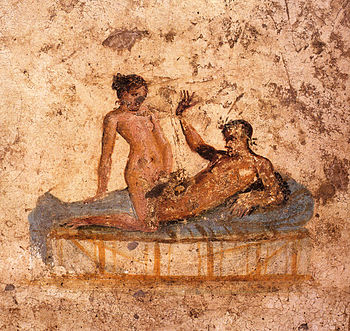 Nude couple in bed. Roman fresco from the Casa...