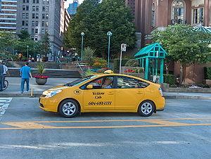 Toyota Prius taxi in Vancouver, British Columb...
